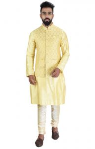 Men Kurta, Ethnic Jacket And Pyjama Set Cotton Silk ( Code - Ethset0022)