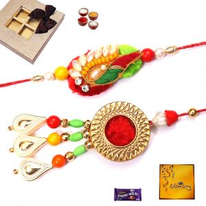 Rakhi To India-ethnic Bhaiya Bhabhi Rakhi Set (code - 28006)