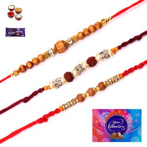 Rakhi Online-exclusive Family Set Of 3 Rakhi (code - 3010)