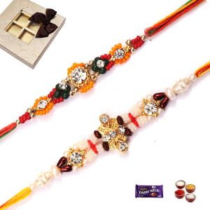 Rakhi Gifts-set Of 2 Beautiful Rakhi (code - 3040)