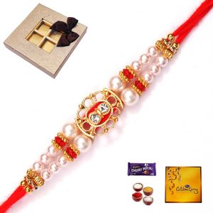 Rakhi Gifts To India-elegant Stone And Pearl Rakhi (code - 4822)