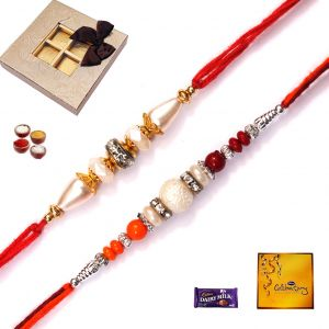 Buy Rakhi Gifts-set Of 2 Elegant Pearl Rakhi (code - Fm003)