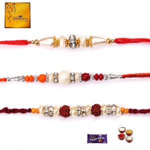 Rakhi Gifts To India-exclusive Family Set Of 3 Rakhi (code - Fm004)