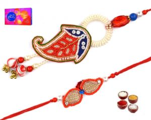 Beautiful Polka Design Bhaiya Bhabhi Rakhi Set (code - Sa002)