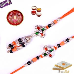 Rakhi Gifts-neon Orange Color Bhaiya Bhabhi Rakhi Set (code - Ssj0117)