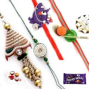 Rakhi To India-white Pearls And Stone Work Family Rakhi Set (code - Ssj129)