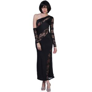 Fascinating Lingerie Trendy Ladies Evening Gown Black (code - Flplpwtledegb01)