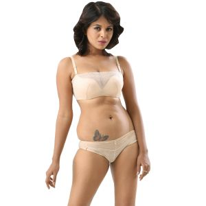 b253e5347475c Fascinating Lingerie - Curves Classic Embroidery And Beige Net Bra Set - ( Code - FLPLCCEABEIGENBS01 )