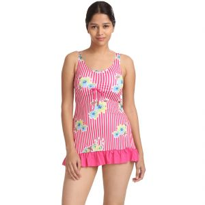 Fascinating Lingerie - Sleeve Scoop Neck Two Piece Tankini - (code-flkassspawfpcssntptbw01)