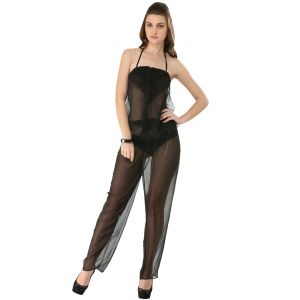 Fascinating Lingerie - 3-piece Elegant Coal Black See Through Pajama Set - (code - Flpl3pecbstps01 )