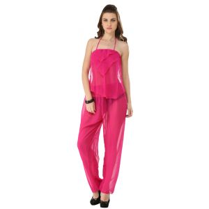 Pyjamas & lounge pants - Fascinating Lingerie - 3-Piece Elegant Pink  See Through Pajama Set - (Code - FLPL3PEPSTPS01 )