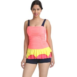Fascinating Lingerie - Appealing Multi Colour Two Piece Bathing Suit Boyleg Bottom Tankini - (code-flplamctpbsbbt01 )