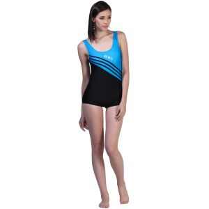 Fascinating Lingerie - Blue Black Stunning One Piece Swim Suit With Slanted Stripes - (code-flplbbsopsswss01)