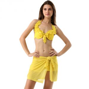 Fascinating Lingerie-yellow Ruffled Halter Stylish 3-piece Bikini Set-( Sku Code -flplcamgyrhs3pbswiw001)