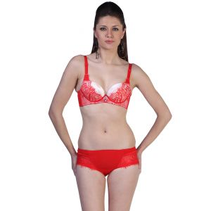 Lingerie Sets - Fascinating Lingerie - Demi-Cup Luxurious Padded Under Wired Red Bra Set - (Code - FLPLDCLPUWRBS01 )