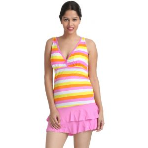 Fascinating Lingerie - Multi Stripe V- Neck Cut-sleeve Beachwear Cover-up. - (code - Flpleasmsvncsbcu01)