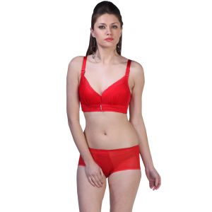 Fascinating Lingerie-erotic Push Up Red Net Bra Set- (code-flplepurnbs01)