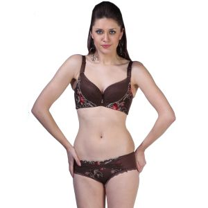 Fascinating Lingerie - Fair Lady - Dream Angel Push-ups Brown Embroidered Bra Set - (code - Flplfldapubebs01 )