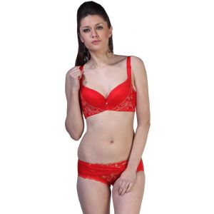 Fascinating Lingerie - Fair Lady - Dream Angel Push-ups Red Embroidered Bra Set - (code - Flplfldapurebs01 )