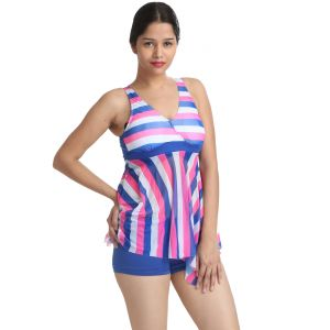 Fascinating Lingerie - Fascinating Multi Striped Two Piece Bathing Suit Boy Short Bottom Tankini - (code - Flplfmstpbsbsbt01 )