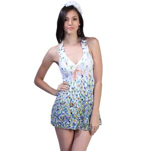 Fascinating Lingerie-colorful Blue Buds V-neckline Cover-up-swim Suit- (code-flplgobcbbvncuss01)