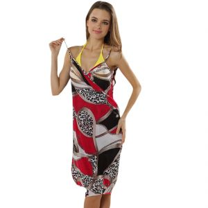 Fascinating Lingerie - Glamorous Open Back,fashionable Multi Digital Print Bikini Cover Up Wrap Dress - (code - Flplgobfmdpbcuwd01 )