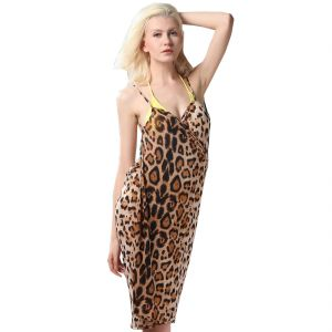 Fascinating Lingerie - Glamorous Open Back, Leopard Print Bikini Cover Up Wrap Dress - (code - Flplgoblpbcuwd01 )