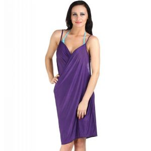 Fascinating Lingerie - Glamorous Open Back, Purple Bikini Cover Up Wrap Dress - (code - Flplgobpbcuwd01 )