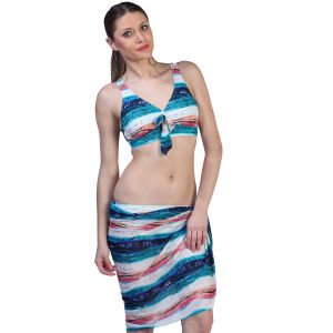 Fascinating Lingerie - Horizontal Striped Classy Bikini Set With Matching Sarong - (code-flplhscbswms01)