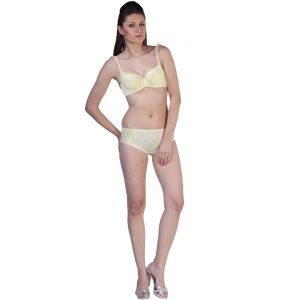 Fascinating Lingerie-passionate Ruffle Straps Push Up Under Wired Cups Yellow Bra Set-(code-flplprspuuwcybs01)