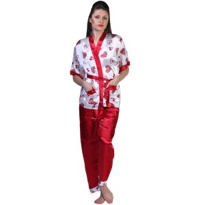 Pyjamas & lounge pants - Fascinating Lingerie - Plush Satin Silk Pyjama Set - (Code - FLPLPSSPS01 )