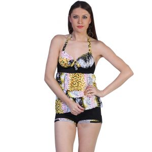 Fascinating Lingerie - Ruffle-luscious Multi Color Tankini Halter Top With Boy Short - (code - Flplrlmthtwbs01 )