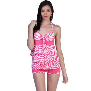 Fascinating Lingerie - Ruffle-luscious Pink Tankini Halter Top With Boy Short - (code - Flplrlpthtwbs01 )