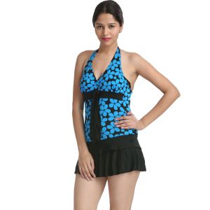 Fascinating Lingerie - Blue Floral Halter Neck Cut-sleeve Swim Cool Cover-up. - (code - Flplsatbfhncssccu01)