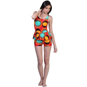 Fascinating Lingerie -spherical Designed Bright Multi Colors One Piece Swim Suit - (code-flplsdbmcopss01)