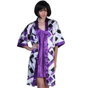 Fascinating Lingerie - Spectacular-mauve Colored Geometrical Designed Kimono - (code - Flplsmcgdk01 )