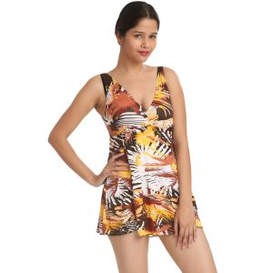Fascinating Lingerie-staggering Skyline Brown Print V-neck Covers-up Beach-wear-(code-flplssbpvncubw01)
