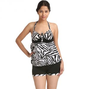 Fascinating Lingerie - Swim-sexy & Charismatic Regulating Haltered Neck Boyleg Tankini Swimsuit - (code - Flplsscrhnbts01 )