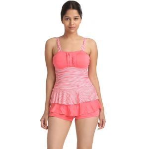 Fascinating Lingerie-padded Frilled Top With Boyleg Bottom One Piece Swim-suit-(code Flpltdppawhlpftwbbopss01)