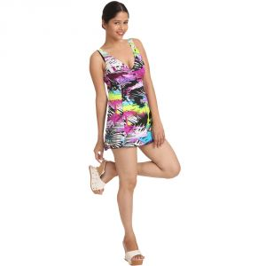 Fascinating Lingerie-mind-boggling Amusing Pretty Retro Print V Neck Swim-cover Up-(code-flplmbaprpvnscu01)