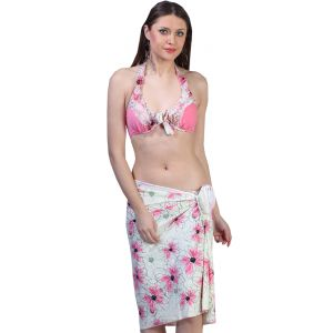 Fascinating Lingerie - Vibrant Floral Sarong With Matching Bikini Set - (code-flplvfswmbs01)