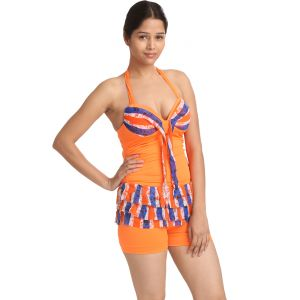 Fascinating Lingerie-multi Orange Two Piece Tankini-(code-flplvpssmobshntpbbtbw01)
