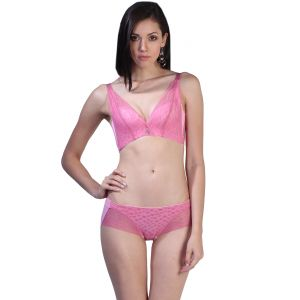 f5e5c7de528b7 Fascinating Lingerie - Vogue Style Exquisite Pink with Pink Net Design Bra  Set - (Code - FLPLVSEPWPNDBS01 )