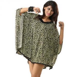 Fascinating Lingerie-v-neck Greenish Wild Leopard Print Kaftan Swimwear Cover Up Dress-( Sku Code - Flplwbsvngwlpkscud01 )