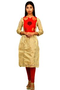 Sameeya Womens White And Red Stright Kurti (code- K107)
