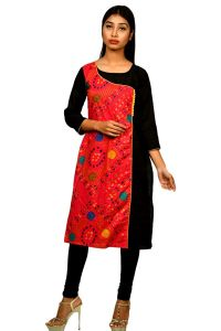 Sameeya Womens Designer Red And Black Straight Kurti (code- K115)