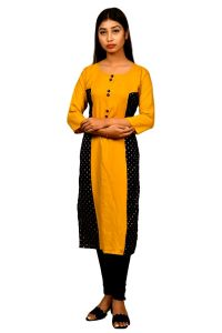Sameeya Womens Designer Yellow And Blue Straight Kurti (code- K117)