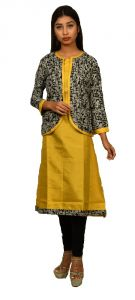 Sameeya Womens Yellow And Black Jacketed Straight Kurti (code- K118)