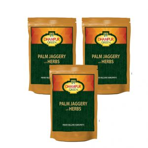 Dhampur Green Palm Jaggery With Herbs 150gm (pack Of 3)