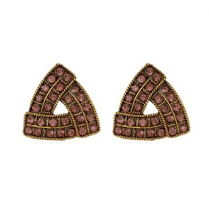 Piah Fashion Pink Austin Diamond Triangle Earrings For Women